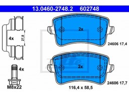 Brzdové platničky ATE 13.0460-2748.2 (zadné)