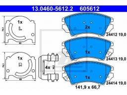 Brzdové platničky ATE 13.0460-5612.2 (predné)