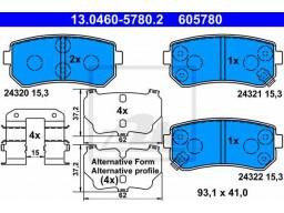 Brzdové platničky ATE 13.0460-5780.2 (zadné)