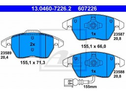 Brzdové platničky ATE 13.0460-7226.2 (predné)