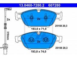 Brzdové platničky ATE 13.0460-7280.2 (predné)
