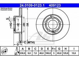 Brzdový kotúč ATE 24.0109-0123.1 (zadný, 230 mm)