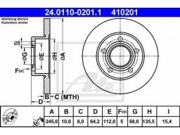 Brzdový kotúč ATE 24.0110-0201.1 (zadný, 245 mm)