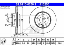 Brzdový kotúč ATE 24.0110-0250.1 (zadný, 264 mm)