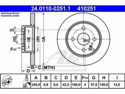 Brzdový kotúč ATE 24.0110-0251.1 (zadný, 240 mm)