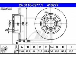 Brzdový kotúč ATE 24.0110-0277.1 (zadný, 253 mm)