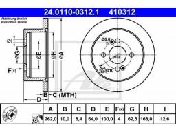 Brzdový kotúč ATE 24.0110-0312.1 (zadný, 262 mm)