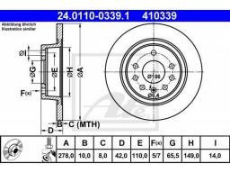 Brzdový kotúč ATE 24.0110-0339.1 (zadný, 278 mm)