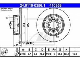 Brzdový kotúč ATE 24.0110-0356.1 (zadný, 272 mm)