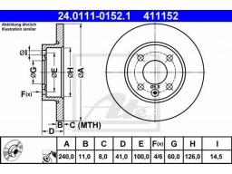 Brzdový kotúč ATE 24.0111-0152.1 (predný, 240 mm)