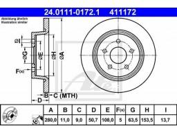Brzdový kotúč ATE 24.0111-0172.1 (zadný, 280 mm)