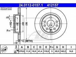 Brzdový kotúč ATE 24.0112-0157.1 (zadný, 278 mm)
