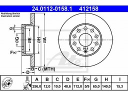 Brzdový kotúč ATE 24.0112-0158.1 (zadný, 256 mm)