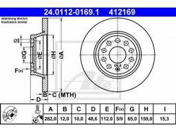 Brzdový kotúč ATE 24.0112-0169.1 (zadný, 282 mm)
