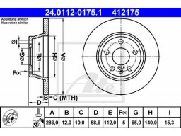 Brzdový kotúč ATE 24.0112-0175.1 (zadný, 286 mm)