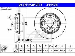 Brzdový kotúč ATE 24.0112-0178.1 (zadný, 300 mm)