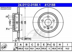Brzdový kotúč ATE 24.0112-0188.1 (zadný, 268 mm)