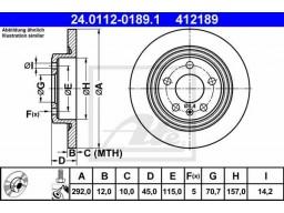 Brzdový kotúč ATE 24.0112-0189.1 (zadný, 292 mm)
