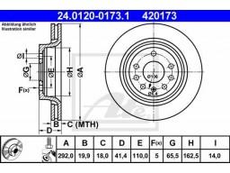 Brzdový kotúč ATE 24.0120-0173.1 (zadný, 292 mm)