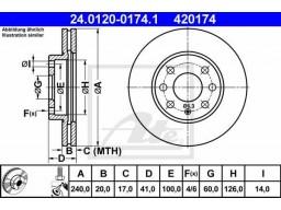 Brzdový kotúč ATE 24.0120-0174.1 (predný, 240 mm)