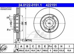 Brzdový kotúč ATE 24.0122-0151.1 (predný, 256 mm)