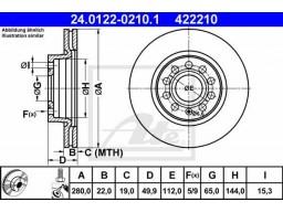 Brzdový kotúč ATE 24.0122-0210.1 (predný, 280 mm)
