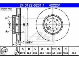 Brzdový kotúč ATE 24.0122-0231.1 (predný, 257 mm)
