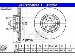 Brzdový kotúč ATE 24.0122-0241.1 (predný, 284 mm)