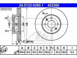 Brzdový kotúč ATE 24.0122-0260.1 (predný, 256 mm)