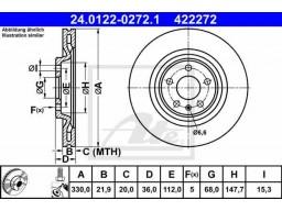 Brzdový kotúč ATE 24.0122-0272.1 (zadný, 330 mm)