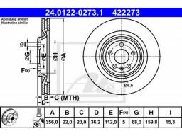 Brzdový kotúč ATE 24.0122-0273.1 (zadný, 356 mm)
