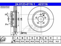 Brzdový kotúč ATE 24.0123-0116.1 (zadný, 315 mm)