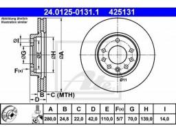 Brzdový kotúč ATE 24.0125-0131.1 (predný, 280 mm)