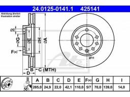 Brzdový kotúč ATE 24.0125-0141.1 (predný, 285 mm)