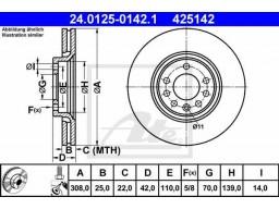Brzdový kotúč ATE 24.0125-0142.1 (predný, 308 mm)