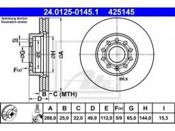 Brzdový kotúč ATE 24.0125-0145.1 (predný, 288 mm)