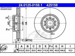 Brzdový kotúč ATE 24.0125-0158.1 (predný, 312 mm)