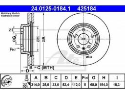 Brzdový kotúč ATE 24.0125-0184.1 (predný, 314 mm)