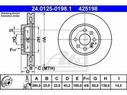 Brzdový kotúč ATE 24.0125-0198.1 (predný, 280 mm)