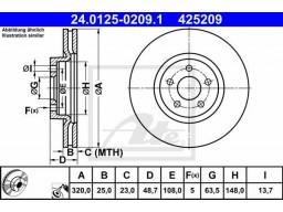 Brzdový kotúč ATE 24.0125-0209.1 (predný, 320 mm)