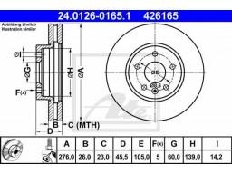 Brzdový kotúč ATE 24.0126-0165.1 (predný, 276 mm)
