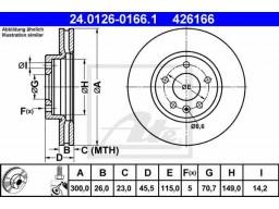 Brzdový kotúč ATE 24.0126-0166.1 (predný, 300 mm)