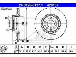 Brzdový kotúč ATE 24.0128-0137.1 (predný, 302 mm)