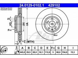 Brzdový kotúč ATE 24.0129-0102.1 (predný, 345 mm)