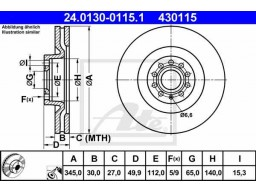 Brzdový kotúč ATE 24.0130-0115.1 (predný, 345 mm)