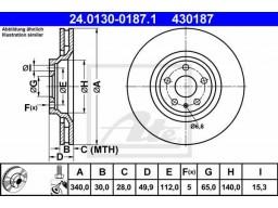 Brzdový kotúč ATE 24.0130-0187.1 (predný, 340 mm)