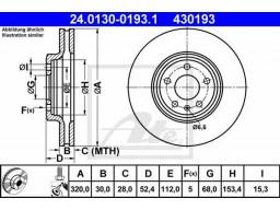 Brzdový kotúč ATE 24.0130-0193.1 (predný, 320 mm)