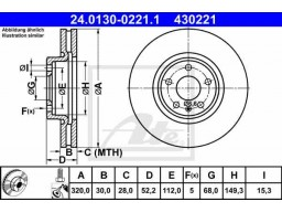 Brzdový kotúč ATE 24.0130-0221.1 (predný, 320 mm)