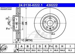Brzdový kotúč ATE 24.0130-0222.1 (predný, 345 mm)