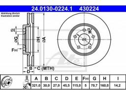 Brzdový kotúč ATE 24.0130-0224.1 (predný, 321 mm)